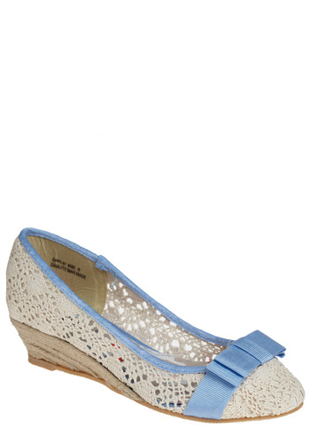 Romantic Message Wedge - Cream, Blue, Bows, Crochet, Trim, Casual, Spring, Summer, 80s, Wedge