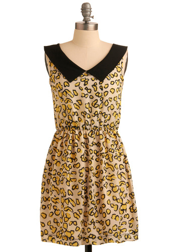 Tea Party Animal Dress - Yellow, Black, Animal Print, Casual, Mini, Sheath / Shift, Sleeveless, Spring, Summer, Short