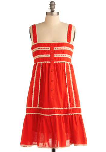 Mad for Mandarin Dress | Mod Retro Vintage Printed Dresses | ModCloth.com :  covered buttons coral cream boho