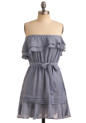 Periwinkle of an Eye Dress - Blue, Solid, Bows, Pleats, Pockets, Ruffles, Tiered, Casual, A-line, Strapless, Spring, Summer, Mid-length