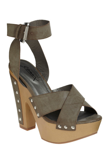 Three Crowns Heel - Brown, Grey, Studs, Casual