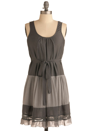 Luna Moth Dress - Grey, Cutout, Ruffles, Tiered, Trim, Casual, Drop Waist, Tank top (2 thick straps), Mid-length