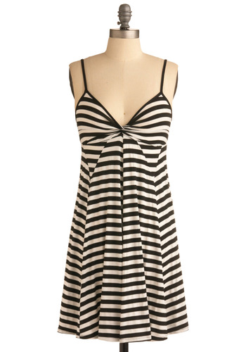 After Dinner Dress - Black, White, Stripes, Casual, A-line, Empire, Spaghetti Straps, Spring, Summer, Mid-length