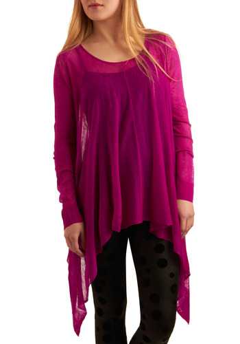 Diurnally Yours Top - Pink, Solid, Casual, Long Sleeve, Mid-length