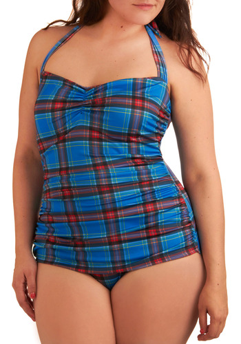 Bathing Beauty One-Piece Swimsuit in Royal Plaid - Plus-Size by Esther Williams - Blue, Multi, Red, Yellow, Black, White, Plaid, Casual, Halter, Spring, Summer, Pinup
