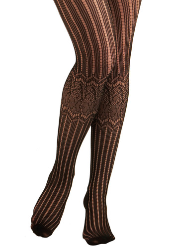 The Bee's Knees Tights - Black, Stripes, Lace, Party, Work, Casual, Vintage Inspired, Spring, Summer