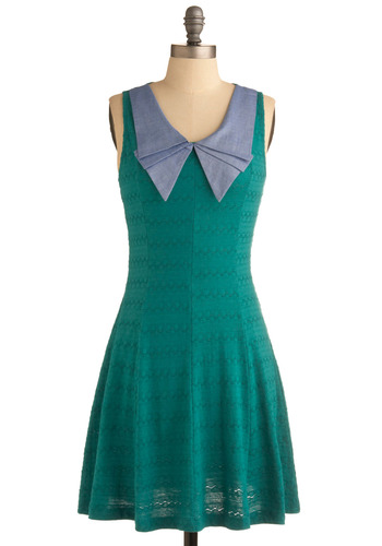 Blue S-teal Dress - Green, Blue, Pleats, Casual, A-line, Sleeveless, Spring, Summer, Vintage Inspired, 60s, Mid-length