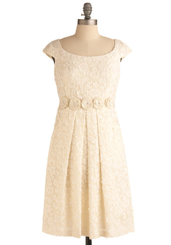 Waltz Away Dress | Mod Retro Vintage Printed Dresses | ModCloth.com :  ivory fluttery hip pockets rosettes