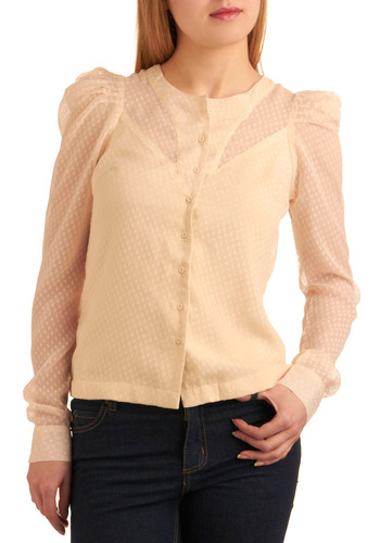 Swiss Dot Miss Shirt - Cream, Polka Dots, Buttons, Work, Casual, Spring, Fall, Winter, Mid-length