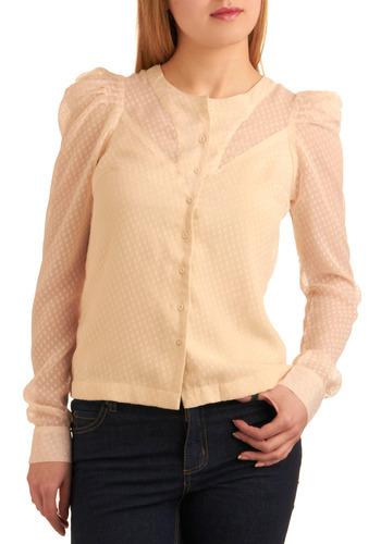 Swiss Dot Miss Shirt - Cream, Polka Dots, Buttons, Work, Casual, Spring, Fall, Winter, Mid-length