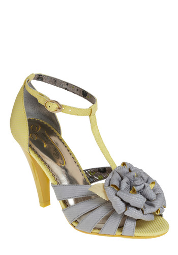 Peek of Sunshine Heel by Poetic License - Yellow, Grey, Flower, Casual, Spring, Summer