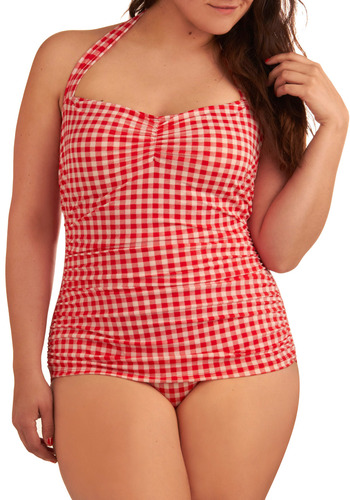 Bathing Beauty One-Piece Swimsuit in Cherry Pie - Plus Size by Esther Williams - Red, White, Plaid, Casual, Halter, Spring, Summer, Rockabilly