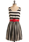 Style is Style Dress - Red, Stripes, Buckles, Casual, A-line, Tank top (2 thick straps), Spring, Summer, Black, White, Mid-length, Nautical