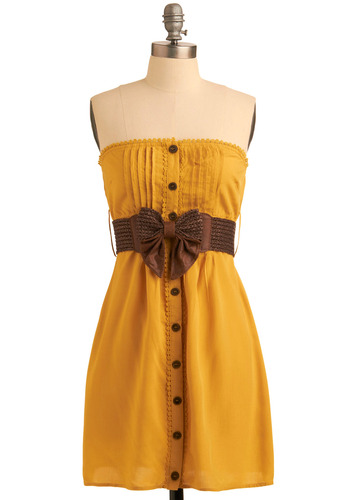 Oyster Festival Dress - Yellow, Brown, Bows, Buttons, Lace, Pleats, Trim, Casual, Empire, Strapless, Spring, Summer, Mid-length