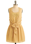 Butter Believe It Dress - Yellow, Solid, Bows, Cutout, Lace, Special Occasion, Wedding, Party, Casual, A-line, Tank top (2 thick straps), Racerback, Spring, Summer, Mid-length