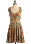 Begonia Blooms Dress - Multi, Red, Orange, Yellow, Green, Pink, Floral, Casual, A-line, Tank top (2 thick straps), Spring, Summer, 80s, Mid-length