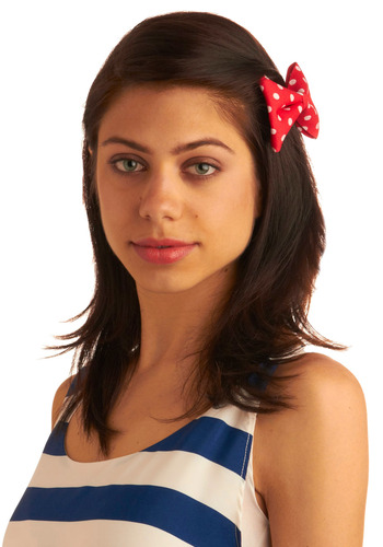 Way to Bow Hair Clip - Red, White, Polka Dots, Bows, Party, Work, Casual