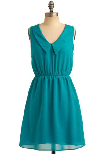 Fille the Love Dress - Blue, Solid, Work, Casual, Sleeveless, Spring, Summer, Mid-length