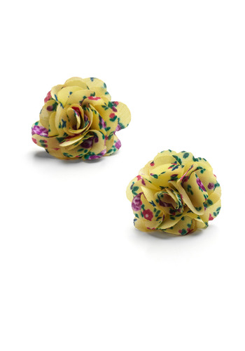 Sunny Flower Earrings - Yellow, Green, Pink, Floral, Flower, Casual, Spring, Summer