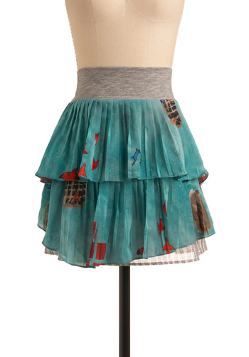 Modern Myth Skirt | Mod Retro Vintage Skirts | ModCloth.com :  chain layers heather accordion pleats