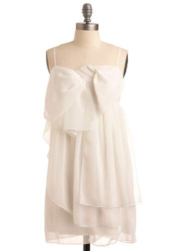 Lovely Legend Dress - White, Solid, Bows, Wedding, Party, Casual, Sack, Spaghetti Straps, Short