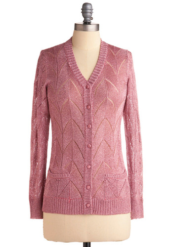 Vintage Fashionably Scintil-late Cardigan | Mod Retro Vintage Vintage Clothes | ModCloth.com :  open knit cardigan mauve vintage