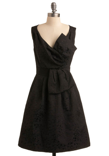 Style Seeker Dress | Mod Retro Vintage Printed Dresses | ModCloth.com :  pleats little black dress dramatic oversized bow