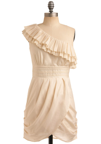 Your Breezy Charms Dress - Cream, Solid, Pleats, Casual, Shift, One Shoulder, Short
