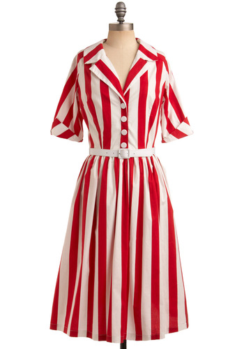 Hello, Nostalgia Dress - Red, White, Stripes, Buttons, Casual, Vintage Inspired, 50s, Shirt Dress, Short Sleeves, Spring, Summer, Long
