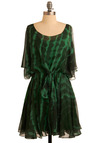 Calm, Kale, and Collected Dress - Green, Black, Tie Dye, Casual, A-line, 3/4 Sleeve, Spring, Summer, Mid-length