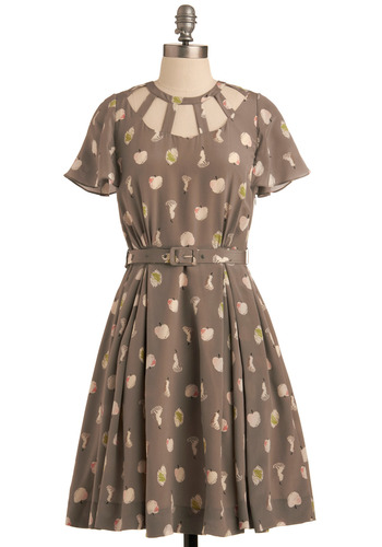 Orla Kiely Dappled with Apples Dress | Mod Retro Vintage Printed Dresses | ModCloth.com :  pearly buttons button back flutter sleeves grey