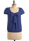 Texas Blue Belle Top - Blue, Solid, Bows, Party, Work, Casual, Cap Sleeves, Spring, Summer, Mid-length
