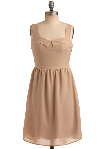A Real Taupe-Tapper Dress - Tan, Cream, Solid, Casual, A-line, Tank top (2 thick straps), Mid-length