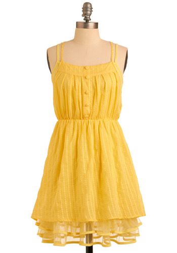 Liked and Lovely Dress in Goldenrod - Yellow, Solid, Buttons, Casual, A-line, Spaghetti Straps, Spring, Summer, Short