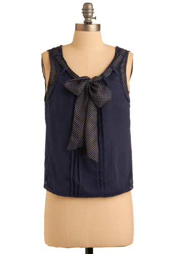 Multi-Talented Trendsetter Top - Blue, White, Polka Dots, Bows, Party, Work, Casual, Urban, Tank top (2 thick straps), Spring, Summer, Fall, Short