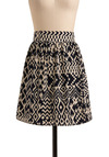 Ikat Get Enough Skirt - Blue, Cream, Print, Casual, A-line, Spring, Summer, Mid-length