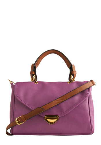Full of Ambition Bag - Purple, Brown, Gold, Solid, Eyelet, Pockets, Party, Work, Casual, Vintage Inspired, 50s, Spring, Summer, 60s