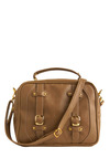 Case in Point Bag - Tan, Gold, Solid, Buckles, Pockets, Studs, Work, Casual, Spring, Summer, Fall