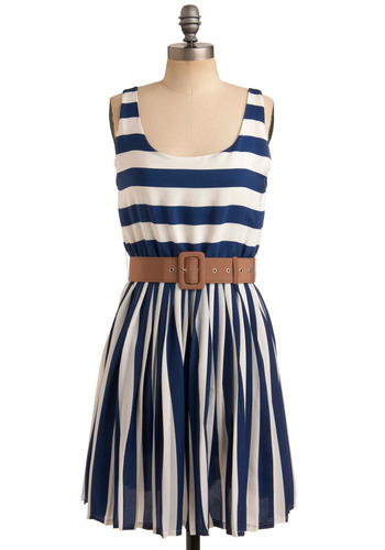 Style is Style Dress in Navy | Mod Retro Vintage Printed Dresses | ModCloth.com :  camel stripes navy and white elasticized