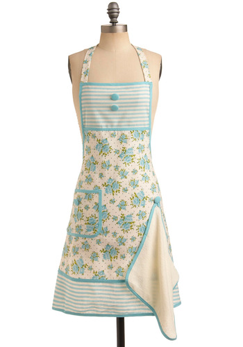 Aqua Spring Rose Bunch Gigi Apron | Mod Retro Vintage Kitchen | ModCloth.com