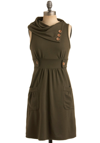 Streetcar Tour Dress in Fern - Green, Buttons, Casual, Shift, Sleeveless, Mid-length