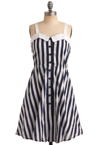 Retro Fit Dress | Mod Retro Vintage Printed Dresses | ModCloth.com :  button front summery collar stripes