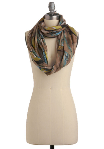 A Tall Tailfeather Scarf | Mod Retro Vintage Scarves | ModCloth.com :  feather print peacock beige scarf
