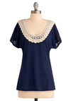 West Coast Casual Top - Blue, Tan / Cream, Solid, Lace, Trim, Short Sleeves, Show On Featured Sale, Boho, Mid-length, Jersey