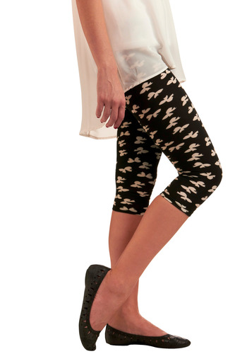 Bow All Out Leggings - Black, White, Novelty Print, Bows, Spring, Summer, Fall
