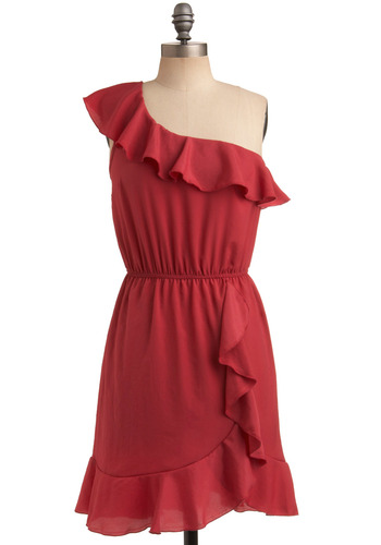 Red Hot Pepper Dress - Red, Solid, Ruffles, Casual, A-line, One Shoulder, Summer, Mid-length