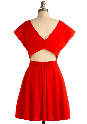 Coy in Crimson Dress by Motel - Red, White, Solid, Buttons, Cutout, Trim, Casual, Vintage Inspired, A-line, Short Sleeves, Spring, Summer, Backless, Short
