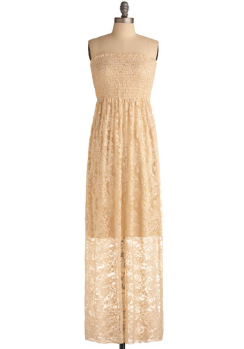 Bicycle Taxi Maxi Dress - Cream, Floral, Lace, Casual, Maxi, Strapless, Spring, Summer, Long