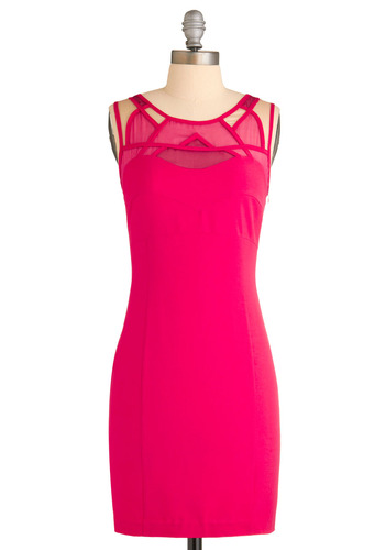 Lutz of Love Dress - Pink, Solid, Cutout, Party, Shift, Sleeveless, Mid-length, Exclusives, Neon, Girls Night Out, Holiday Party, Bodycon / Bandage, Sheer