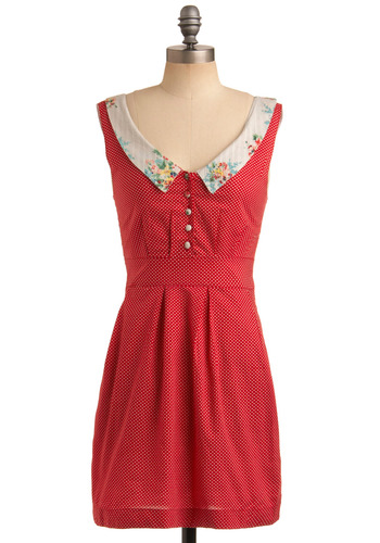 Rhubarb Tart Dress | Mod Retro Vintage Printed Dresses | ModCloth.com :  button front pleats tailored embellished